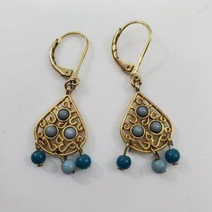 Boho Earrings Gold Tone Beaded Dangle Swirl Tear D